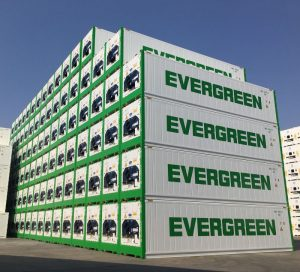 Evergreen Line containers piled at the port