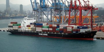 Yang Ming container ship YM People in the port of Keelung in Taiwan