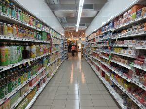 grocery items on shelvess