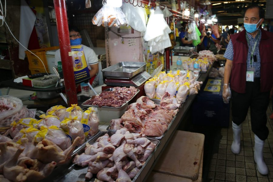 Poultry products displayed in the wet market