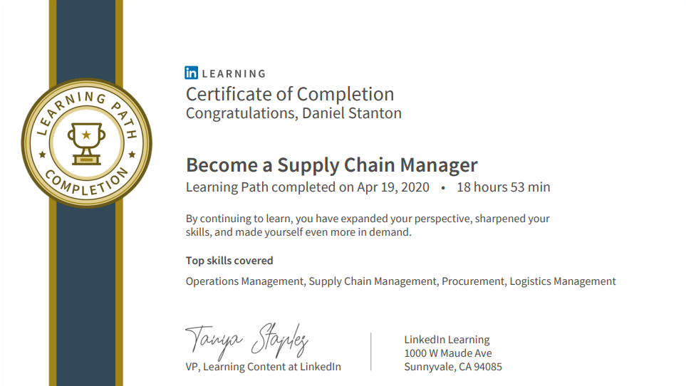 Become a supply chain manager