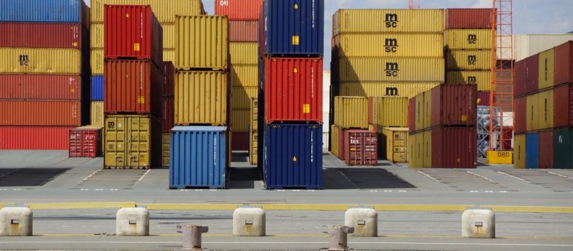 Container cargo piled up at port