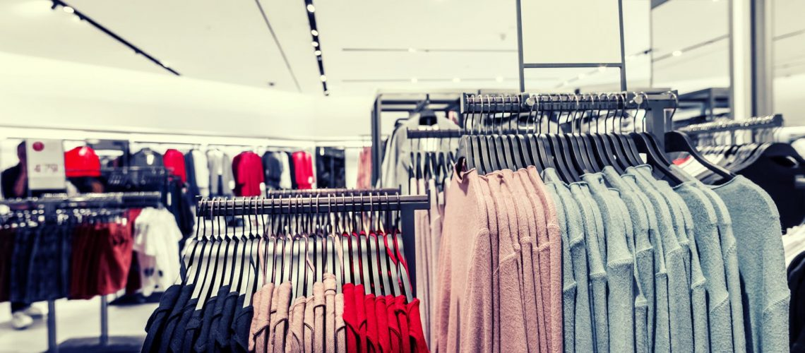 Inventory of clothes displayed in retail store